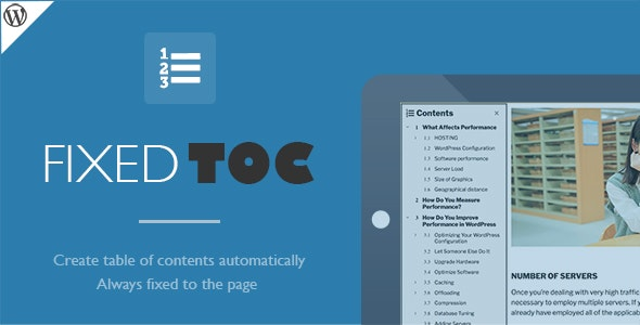 Fixed TOC - table of contents for WordPress plugin